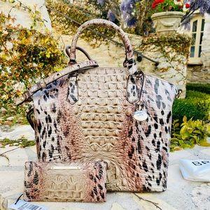 NWT Brahmin Leopard LG Duxbury Satchel&wallet
